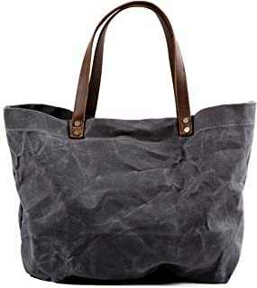 Jeelow Waxed Canvas Shoulder Tote Weekender Bag Travel Handbags For Men & Women Leather Handles Water Proof