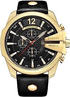 Reloj de pulsera de cuarzo con correa de piel auténtica para hombre, diseño moderno, color negro y dorado