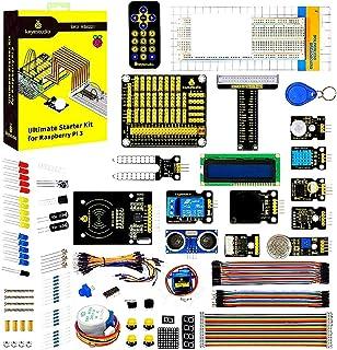 KEYESTUDIO Raspberry Pi 4 Ultimate Starter Kit with Stepper Motor, Ultrasonic Sensor, Learn Electronics and Programming, S...