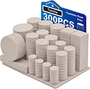 Furniture Pads Felt Furniture Pads,Floor Protectors for Furniture,Various Sizes Self Adhesive Chair Leg Pads 300 Pcs Cuttable Felt Chair Pads, Your Best Wood Floor Protectors,Beige
