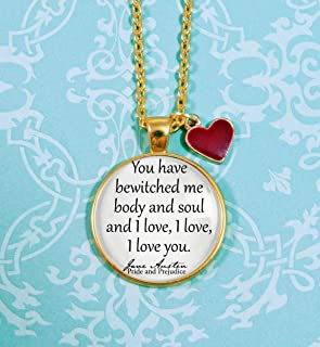 Book Necklace- Enamel Heart Charm- Pride and Prejudice- Jane Austen Gifts- Bookish Gifts- You have bewitched me body and soul and I love you