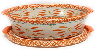 Temp-tations 2.5 Qt Oval Baker with Deep Dish Lid-It (Tray) (Old World Tangerine)