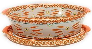 Temp-tations 2.5 Qt Oval Baker w/Deep Dish Lid-It (Tray) (Old World Tangerine)