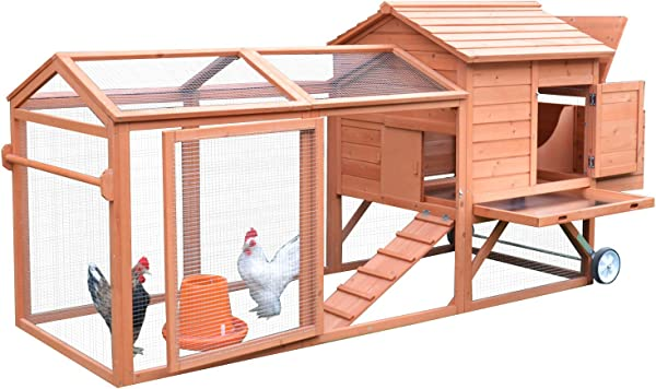 PawHut 98 Portable Wooden Chicken Coop With Wheels Outdoor Run And Nesting Box
