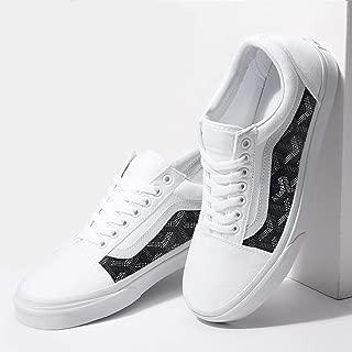 Vans White Old Skool x Black French Pattern Custom Handmade Shoes By Fans Identity