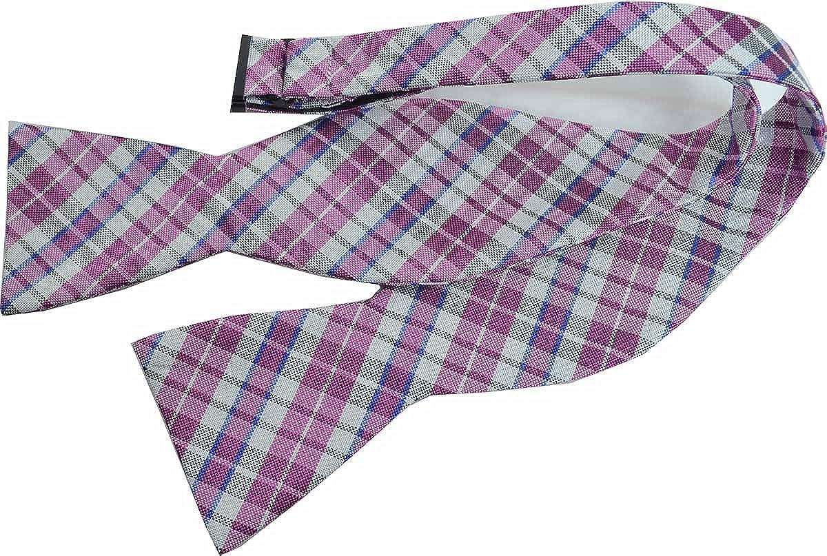 Countess Mara Men To-Tie White Plaid Bow Tie