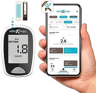 KETO-MOJO کیت خون و کیت آزمایش گلوکز، رژیم غذایی کتوژنیک، 1 متری، 1 دستگاه لیزر، 10 لانسه، 10 نوار تست کتون، 10 نوار تست گلوکز، کیف حمل