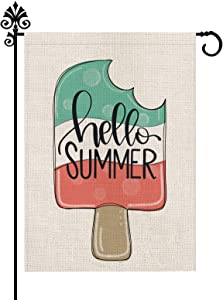 Popsicle Summer Garden Flag Ice Cream Outdoor Decorations Burlap Vertical Double Sided Yard Decor 12.5 x 18 Inch