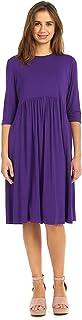 فستان بيبي دول للنساء من ESTEEZ - خصر إمبراطوري - مطوي - 3/4 كم - راتشيل
