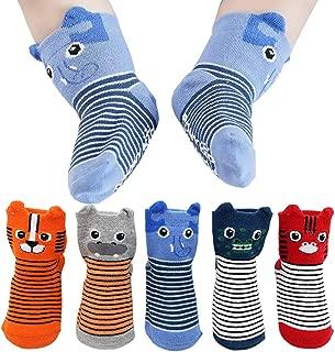 FlyingP Baby Socks 5 Pairs Cartoon Anti Skid Slip Socks 3D Animal Cotton Socks Skid Baby Walker Grip Socks for 12-36 Months Toddler and Infants