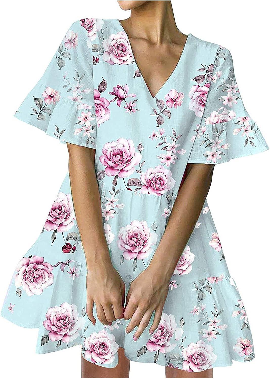 Sun Dresses Women Summer Women Summer Dress V-Neck Solid Short Sleeve Casual Loose Flowy Swing Dress Casual Sexy Boho