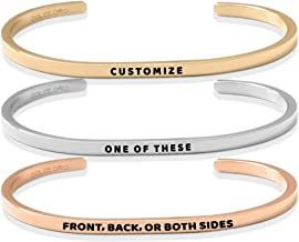 Dolceoro Personalized Inspirational Mantra Cuff Band Bracelet Jewelry, 3mm Wide Shiny 316L Surgical Stainless Steel