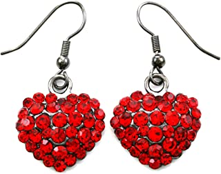 Valentine's Day Red Heart Earrings Love Be Mine Dangle Hook Style Paved Rhinestone Fashion Jewelry