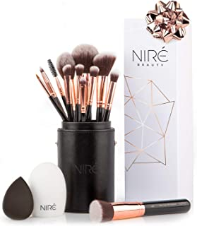 Niré Beauty 15piece Award Winning Professional Makeup Brush Set: Makeup Brushes with Case, Beauty Blender, Brush Cleaner, Guide, Gift Box
