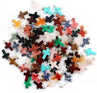 5pcs Lots Cross Shape Charms Pendant Healing Crystal Quartz Chakra Beads for DIY Jewelry Making $1.39/pcs