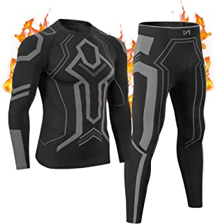 MeetHoo Mens Thermal Underwear Set Compression Base Layer Breathable Long Johns Thermal Top and Bottoms for Running Sports...