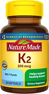 Nature Made Vitamin K2 100 mcg Softgels, 30 Count for Bone Health