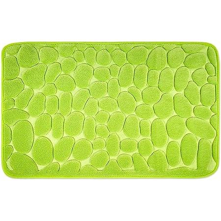 WohnDirect Alfombrilla de baño Verde • Memory Foam • Antideslizante y Lavable – 50 x 80 cm