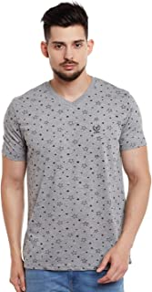 VIMAL JONNEY Printed Black V Neck Cotton Tshirt for Men(Pack of 1)-VEE-Print-NO.1-01-BLK-P