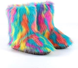 HANHOU Urban Leisure Winterschoenen voor dames, kunstbont, sneeuwschoenen, pluche voering, kleurenserie voor de winter, hi...