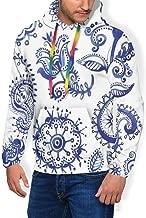 Men's Hoodie Thicken Fluff Sweatshirt,Old Fashioned Floral Motifs with Arabesque Art Design Ancient Eastern Ornaments