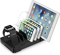 Juicy Power 7 Port USB Charging Station with Quick Charge for Multiple Devices - Watch Stand Included - Docking Station for Multiple Devices - Family, Office, Hotel Device Organizer
