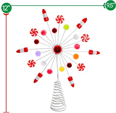Ornativity Candy Snowflake Tree Topper - Peppermint Candy Cane Snowflakes Christmas Tree Decorations