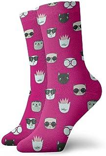 Gato con gafas Hombre Calcetines cortos para mujer 30cm Calcetines clásicos de algodón para yoga Senderismo Ciclismo Correr Fútbol Deportes