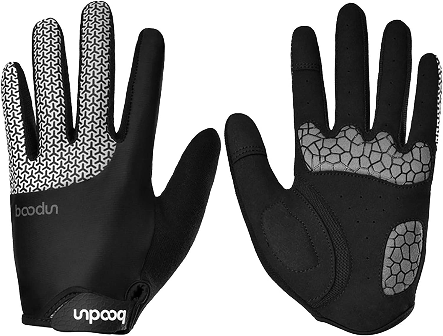 Boomboom Unisex Cycling Gloves Sport Full Finger Palm Padded for Bike Moto Racing Hiking Camping Gym Outdoor Sports