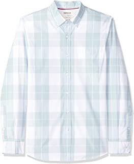 Amazon Brand - Goodthreads Men's Slim-Fit Long-Sleeve Plaid Poplin Shirt with Button-Down Collar