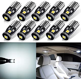 Best AUTOGINE 10pcs Super Bright Error Free 194 168 175 2825 W5W T10 912 LED Bulbs Xenon White 3030 Chipset for Car Interior Dome Map Door Courtesy Trunk License Plate Lights Review