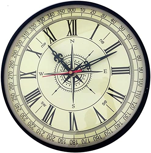 Royal Compass Dial Look 10 inch Wall Clock in Metal for Kids Room   Dining Room   Kitchen   Pooja Room