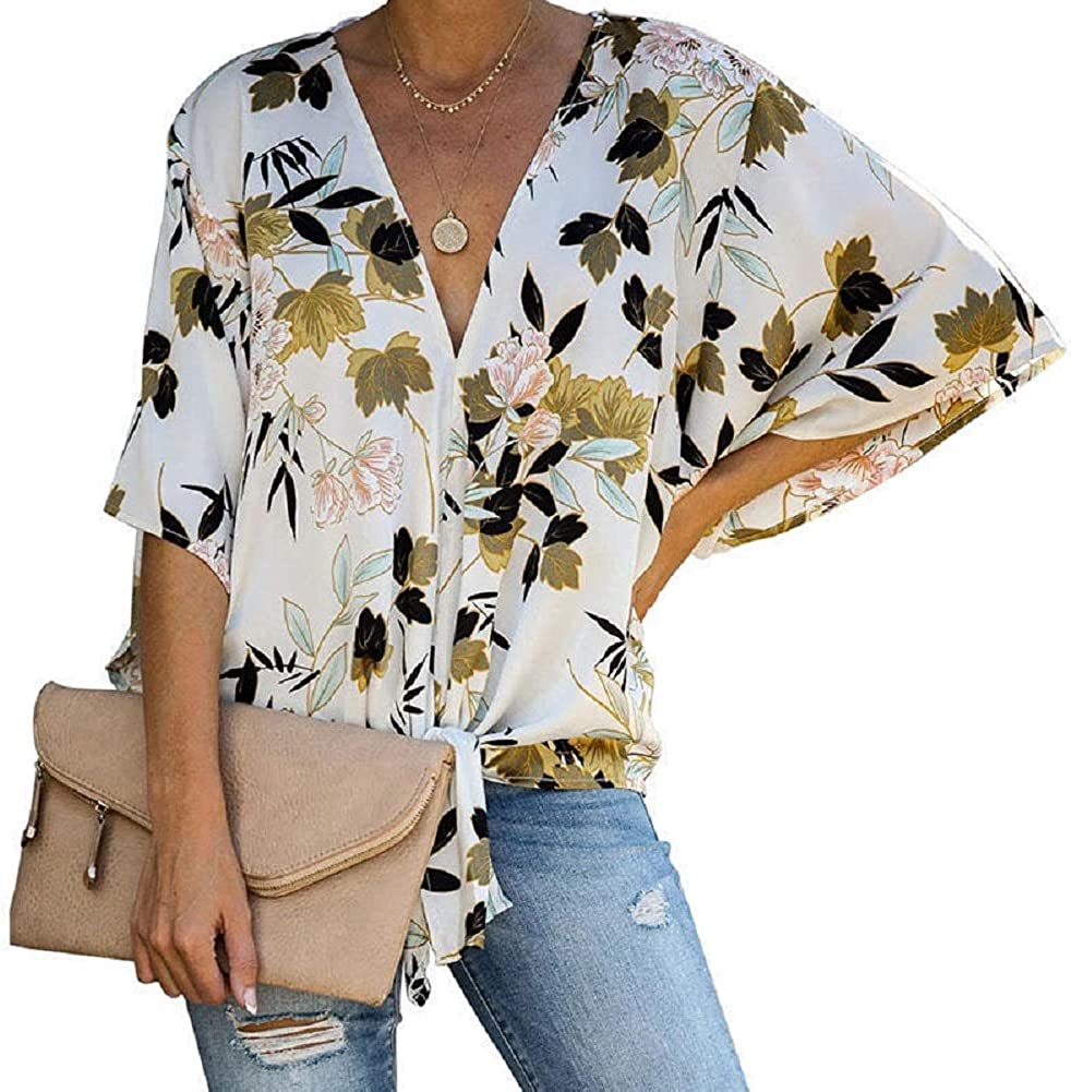 Womens Floral V Neck Tie Knot Front Blouses Short Sleeve Chiffon Tops Shirts