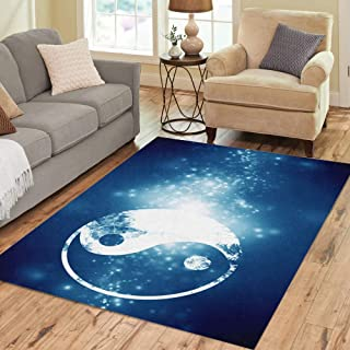 Semtomn Area Rug 5' X 7' Yang Some White Clouds in Blue Summer Sky Yin Home Decor Collection Floor Rugs Carpet for Living Room Bedroom Dining Room
