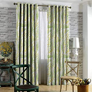 hengshu Garden Art 99% Blackout Curtains Watercolor Mimosa Pattern Wild Spring Flowers Brush Strokes Effect for Bedroom Kindergarten Living Room W72 x L72 Inch Apple Green and Yellow