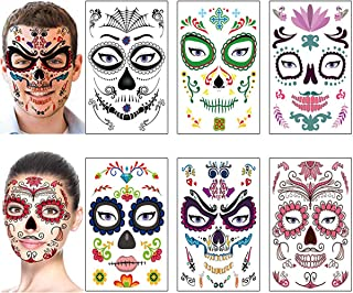 Halloween Makeup Kit Day of the Dead Sugar Skull Face Tattoos Stickers Halloween Temporary Tattoos for Women Men Adult Kids Halloween Party Favor Supplies Flower Skeleton Mask Tattoo (6 Sheets)