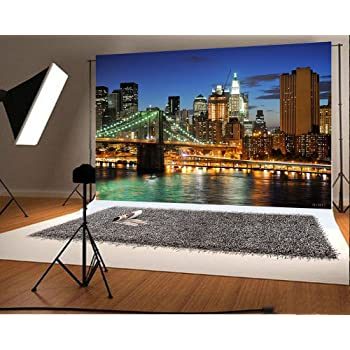 City 15x10 FT Vinyl Photography Backdrop,Empire State and Skyscrapers of Midtown Manhattan New York Aerial View at Dusk Background for Baby Birthday Party Wedding Studio Props Photography