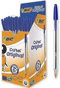 BICBIC Cristal Original Bolígrafos Punta Media (1,0 mm) - Azul, Caja de 50 Unidades, Perfecto para Oficinas