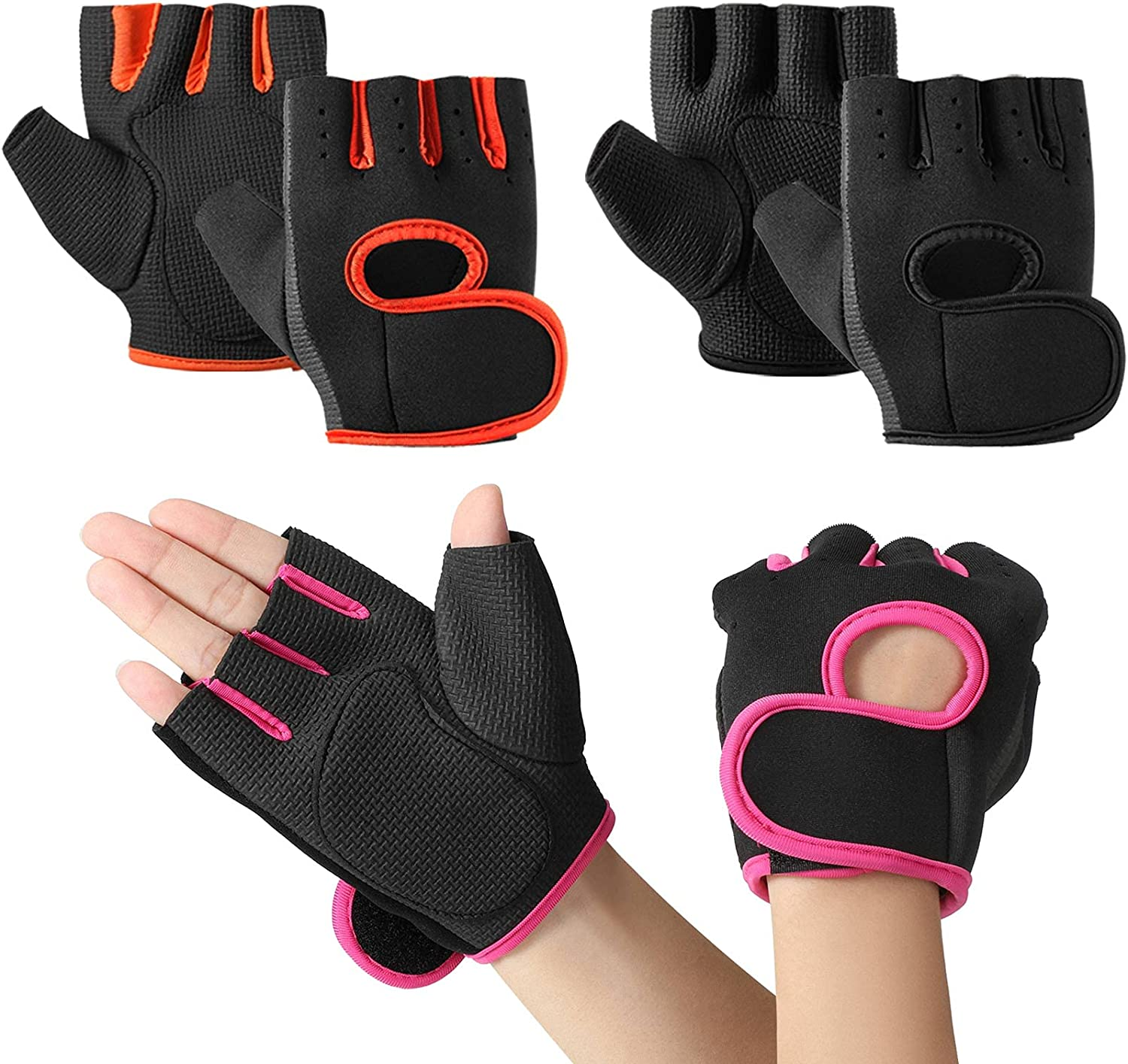 3 Pairs Women's Exercise Gloves Fitness Gym Workout Gloves Worko