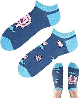 TODO Colours - Calcetines deportivos con diseño de cerdo para hombre y mujer, multicolor