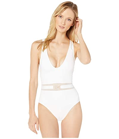La Blanca Mesh-Merizing Belted Plunge Mio One-Piece (White) Women