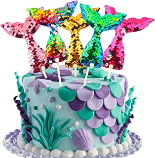Mermaid Tail Cake Toppers Set Reusable Sequin Reversible Mermaid Cake Decoration Novelty Party Supplies for Baby Shower, Bridal Shower, Wedding and Birthday Party(Set of 5)