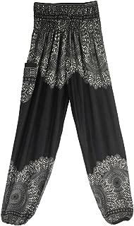 iYBUIA Women Casual Peacock Print Summer Loose Yoga Trousers Baggy Boho Aladdin Jumpsuit Harem Pants