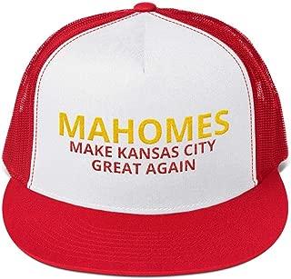LiberTee Mahomes Chiefs Flatbill Trucker Hat, Make Kansas City Great Again Quality Flatbill for KC Fans, Unisex