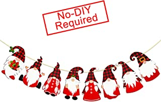Swedish Tomte Gnomes Garland Banner for Christmas Holiday Decorations - Paper Christmas Gnome Decorations - Red Black Plai...