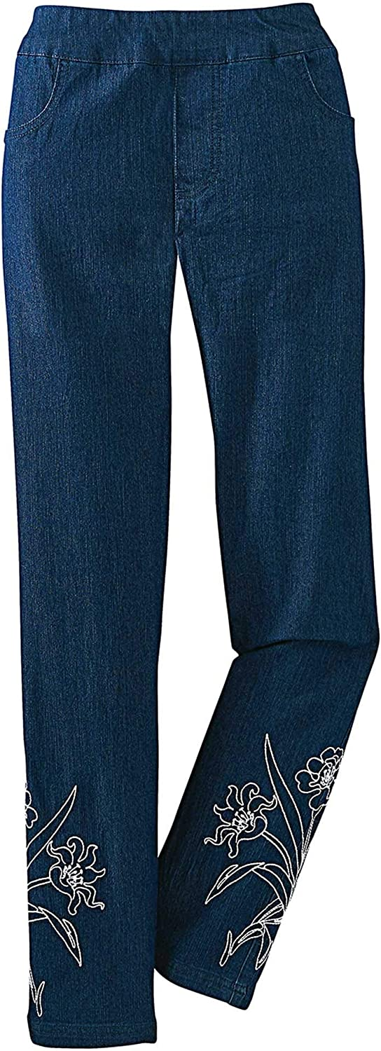 National Women's Floral Stretch Jeans - Flattening Pull-On Waist, Flower Embroidery at Leg Openings, Front & Back Pockets, Ankle Length, Dark Stonewash, 20W
