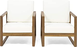 Great Deal Furniture Mavis Outdoor Acacia Wood Club Chair with Cushions (Set of 2), Teak Finish and Beige