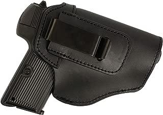 FUNTRESS Leather Holsters for Pistol Concealed Carry Handgun Waistband Glock 19 Holster Belt for Women Men Fit M1911 Glock 17 26 43 S&W 9mm .45 Similar Size Models