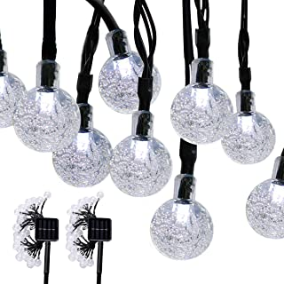Aluvee 2pack 19.7ft/30LED Solar String Lights Fairy White Bubble Ball String Lamps for Outdoor Christmas Home Patio Lawn Garden Party Wedding Holiday Decorations