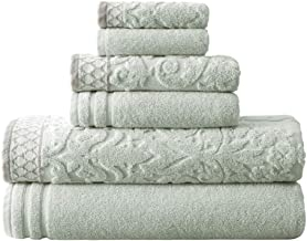 Amrapur Overseas 6-Piece Damask Jacquard/Solid Ultra Soft 550GSM 100% Combed Cotton Towel Set with Embellished Borders [Li...